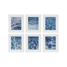 Williams-Sonoma Crashing Waves Series Set of 6 featuring polyvore, home, home decor, wall art, filler, inspirational wall art, white home decor, blue wall art, ocean home decor and motivational wall art