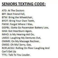 Old-timer's texting reference