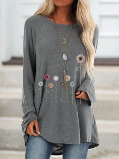 Women Flowers Printed Casual Round Neck Long Sleeves Plus Size Cotton T-Shirt Loose Pullover Autumn Blouse Shirts & Tops, Casual T Shirts, Casual Tops, Shirt Blouses, Cotton Blouses, Tee Shirts, Long Sleeve Sweater, Long Sleeve Tops, Long Sleeve Shirts
