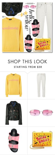 Get Happy by paculi on Polyvore featuring Topshop, Citizens of Humanity, Suecomma Bonnie, Alice + Olivia, Gorjana, Oliver Peoples, PopsOfYellow and NYFWYellow