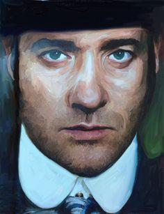 iPad painting of Matthew McFadyen in Ripper Street