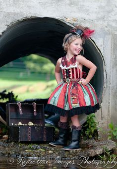 Girl's Pirate Costume, Halloween Costume, Ringmaster Costume, Child's Costume, Birthday Dress Up I would say it's a mini steampunk outfit❤️❤️ Ringmaster Costume, Circus Costume, Costume Dress, Halloween Circus, Halloween Costumes, Pirate Costumes, Steampunk Kids, Girl Pirates, Hallowen Ideas