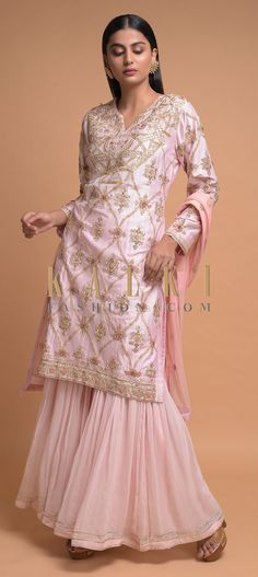 Buy Online from the link below. We ship worldwide (Free Shipping over US$100)  Click Anywhere to Tag Pastel Pink Sharara Suit In Cotton Adorned With Gotta Patch Embroidered Floral Pattern Online - Kalki Fashion Pastel pink sharara suit in cotton adorned with gotta patches, zardozi, sequins and thread embroidered floral and ogee pattern.Designed with round neck with V and full sleeves.