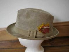 e3af9ad257e7a Vintage 60s 70s DOBBS 5th Ave Suede Leather Feathers Fedora 7 1 4. Mod  General Store · Vintage Men s Hats