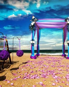 50 Beach Wedding Aisle Decoration Ideas   Purple & Aqua love. Rose petals available at Flyboy Naturals www.flyboynaturals.com http://www.deerpearlflowers.com/50-beach-wedding-aisle-decor-ideas/