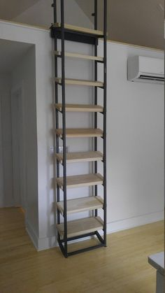 7 ft Loft Ladder , librarian (shipping is ABF trucking loading dock to AFB loading dock ) - Craftsman Style Librarian Loft Ladder Loft living or home library, this fold away adjustable slidin - Attic Loft, Attic Rooms, Attic Bathroom, Attic Ladder, Small Attic Room, Garage Attic, Loft Ladders, Library Ladder, Attic Office