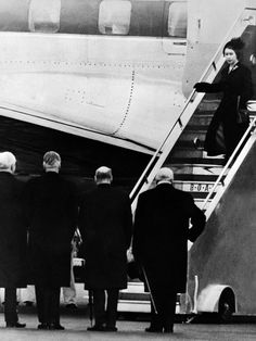 Queen Elizabeth II arriving back in England upon hearing the death of her father King George VI, 1952.