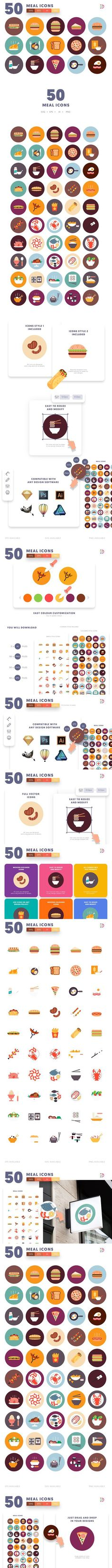 50 Meal Icons. Icons