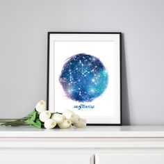 Add some sparkle to any home decor with a night sky and the Sagittarius Constellation. Just download and print.  #sagittarius #constellations #zodiacsigns #downloadable #easyhomedecor Sagittarius Art, Sagittarius Constellation, Rgb Color Space, Blue Bedroom Decor, Printable Star, Mermaid Invitations, Holiday Gift Tags, Constellations, Zodiac Signs