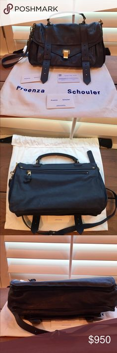 """Proenza Schouler PS1 Medium Authentic Proenza Schouler PS1 Medium in the color Midnight. 12.5""""L x 4""""W x 8.5""""H. Excellent condition, edges a little squished from being stored in dust bag. I don't think I ever actually used it. Beautiful Bag! Proenza Schouler Bags"""