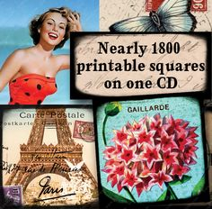 Piddix CD Volume 9 with 1791 amazing, vintage-themed squares on 49 Collage Sheets for jewelry and mixed media crafts. #printables