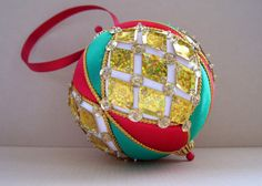 Gold Diamond Sequins Satin Christmas Ornament- Red and Green, by Ornament Designs