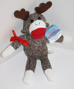 """Galerie Sock Monkey Knit Reindeer plush stuffed soft toy Red Bow Christmas 9"""" #Galerie #Christmas #SockMonkey #SockMonkeyReindeer #SoftToy"""