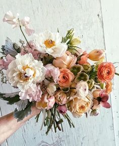 This bridal bouquet is so adorable. Amazing colors and flowers like peonies ran 2019 This bridal bouquet is so adorable. Amazing colors and flowers like peonies ranunculus and many Bloom, Wedding Bouquets, Wedding Flowers, Bouquet Flowers, Sweet Pea Wedding Bouquet, Boquet, Wedding Colors, Planting Flowers, Flowers Garden