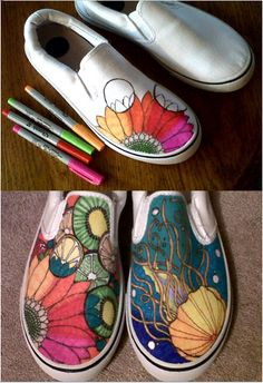 New idea I had with my infamous Sharpie skills! Just grab some cheap off-brand of Vans from either Walmart, Kmart or Payless and go-to-town with the Sharpies! The designs are endless.....yes!!!