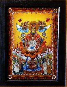 Icoana pe sticla  -  Izvorul Tamaduirii  - autor: Florian Colea - Targoviste, Romania Religious Icons, Religious Art, Virgin Mary, Byzantine, Ikon, Renaissance, Folk, Glass, Pictures