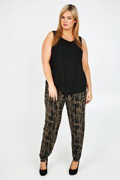 ac5abf64f5232 Khaki And Black Brush Stroke Print Harem Trousers Plus Size Harem Pants