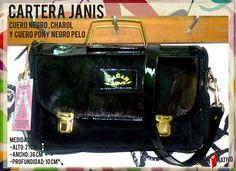 CARTERA | JANIS -Cuero Gamuzado Negro -Cuero Charol Negro -Cuero Negro -Herrajes Oro CARTERAS DE CUERO | Bolcan Nativo