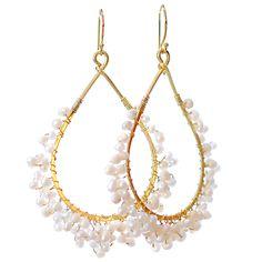 Gold Bridal Hoops Earrings with Pearls