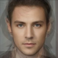 Composite photo of nine men generated using AVERAGE FACE on iPhone.
