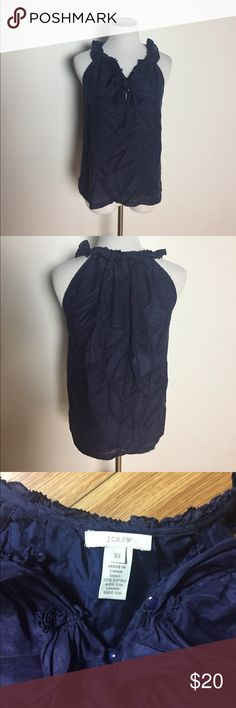 "Jcrew navy blue silk camisole sz xs Navy blue Jcrew sz xs camisole, silk/cotton blend. Shirt has a loose, drapey fit and is 23"" long. J. Crew Tops Camisoles"