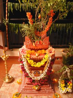 Tulasi Puja' is a popular Hindu Ritual which is performed today in the evening by women of all ages. it is the marriage of Tulasi (Holy Basil) to Lord Vishnu.