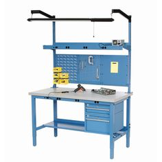 """72""""W x 24""""D Packaging Workbench with Power Apron - Plastic Laminate Square Edge - Blue"""