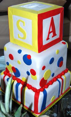 Baby Block Cake by pieceacakeutah, via Flickr Abc Birthday Parties, Birthday Cakes For Teens, Cousin Birthday, Teen Birthday, Birthday Ideas, Baby Cookies, Baby Shower Cookies, Baby Shower Fun, Amazing Cakes