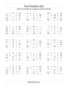 The Addition and Subtraction Relationships with Families that Add to 12 (A) math worksheet from the Fact Family Worksheets page at Math-Drills.com.