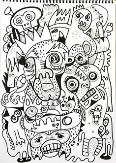 jon burgerman, a black and white design that consists of animals and abstract… Outline Art, Posca Art, Comic Illustrations, Illustration Art, Animal Makeup, Gcse Art, Black And White Design, Little Monsters, Abstract Pattern