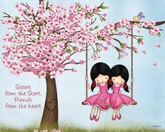 Items similar to Girls Room Decoration Canvas Print,Cherry Blossom Sisters Room Art,Girls Shared Room Wall Art,Picture For Twins Bedroom,Girls Nursery Art on Etsy Draw On Photos, Pictures To Draw, Art Pictures, Bff Drawings, Drawings Of Friends, Easy Drawings, Wonderful Day Quotes, Mother Daughter Art, Girls Room Paint