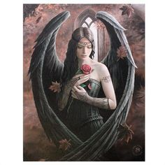 A wonderful Gothic angel holding a rose design wall canvas, designed by the brilliant Anne Stokes. Gothic Angel, Gothic Art, Anne Stokes, Anime Neko, Angels And Demons, Angel Art, Vincent Van Gogh, Wall Canvas, Insta Pic