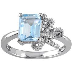 Laura Ashley Sterling Silver Sky Blue Topaz & 1/10 Carat T.W. Diamond... ($270) ❤ liked on Polyvore featuring jewelry, rings, blue, sterling silver charms, diamond rings, sterling silver diamond rings, round cut diamond rings and emerald cut blue topaz ring