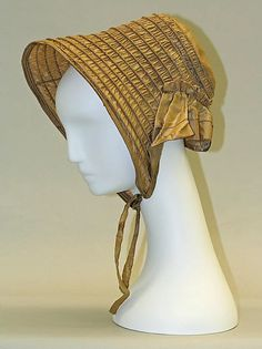 "1840s bonnet, American, silk, height: 12""; gift of John Eastman and Gerard L. Eastman, 1976, side view"