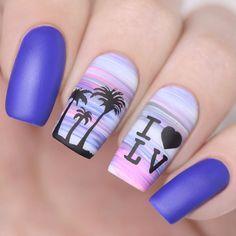 87 Best Palm Tree Nail Art Designs Summer 2018 - The most beautiful nail designs Summer Acrylic Nails, Best Acrylic Nails, Spring Nail Art, Acrylic Nail Art, Summer Nails, Nail Art Designs, Beach Nail Designs, Nails Design, Diy Nails