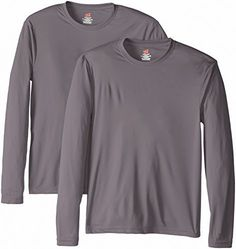 Hanes Men's Long Sleeve Cool DRI T-Shirt UPF 50+, Graphite, Large (Pack of 2) - http://www.exercisejoy.com/hanes-mens-long-sleeve-cool-dri-t-shirt-upf-50-graphite-large-pack-of-2/athletic-clothing/