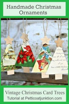 Super cute handmade Christmas ornaments made from vintage Christmas cards