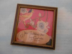 """vintage BUZZA MOTTO framed quotation """"Just Bubbling Over"""" 1920's 4.5"""" square"""