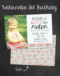 One in a Melon First birthday Invitation | 1st birthday watermelon theme