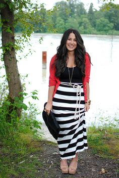 black and white striped skirt with red cardigan