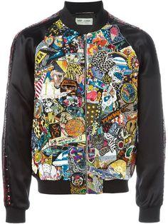 SAINT LAURENT Embellished Bomber Jacket. #saintlaurent #cloth #jacket