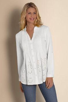 Embroidered eyelet is so fresh on the front of this soft crinkled cotton gauze shirt, with pintuck panels that release at the waist to an easy shape. Roll tab sleeves, shirtta