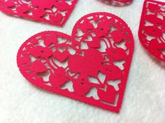 Heart Paper Piece Set of Very by JudeAlyssaMarkus on Etsy Very Lovely, Beautiful, Die Cut Paper, Paper Lace, Paper Hearts, Homemade Cards, Altered Art, Mini Albums, Card Stock