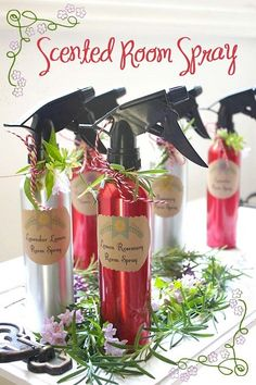 DIY Scented Room Spray essential oils(15 to 30 drops), distilled water and spray bottles from the dollar store.