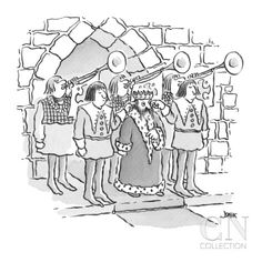 king has servants hold their fingers in his ears as trumpets behind him bl… - Cartoon Premium Giclee Print