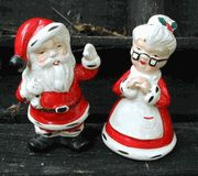Vintage Mr. and Mrs. Claus salt and pepper shakers
