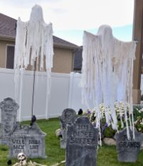diy floating ghost--simple - for grave yard