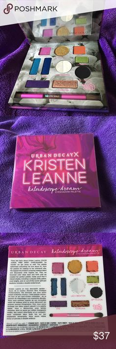 """UD X KRISTEN LEANNE KALEIDOSCOPE DREAM Palette The limited-edition Kaleidoscope Dream Eyeshadow Palette features 11 vibrant shades, including a uniquely shifty yellow, vivid brights, and an out-of-this-world split-pan duotone. Each shade is named after something close to Kristen's heart, like LCW (a nod to KL's fave song, """"Long Cool Woman in a Black Dress,"""" by the Hollies), and 13th Floor (one of her favorite Twilight Zone episodes). Every shade has a velvety texture, rich color, serious…"""