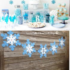 Sale Birthday banner Frozen banner Snowflake by BellasBloomStudio