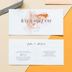 10 x invitation card watercolor with your texts